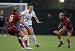 15 September 2011: Duke's Laura Weinberg (16) is defended by Charleston's Hannah Gmerek (6) and Emilie Huser (12). The Duke University Blue Devils defeated the College of Charleston Cougars 3-0 at Koskinen Stadium in Durham, North Carolina in an NCAA Division I Women's Soccer game.