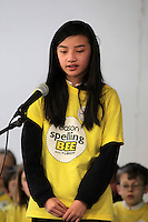 NO FEE PICTURES.8/3/12 Linda Nguyen, St Ronan's NS Clondalkin, taking part in the Dublin County final, part of the overall Eason 2012 Spelling Bee, held at St Olaf's NS, Dundrum. .For further details visit www.easons.com/spellingbee and stay tuned to RTE 2fm. Picture:Arthur Carron/Collins