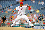 21 June 2011: Washington Nationals pitcher Livan Hernandez in action against the Seattle Mariners at Nationals Park in Washington, District of Columbia. The Nationals rallied from a 5-1 deficit, scoring 5 runs in the bottom of the 9th, to defeat the Mariners 6-5 in inter-league play. Mandatory Credit: Ed Wolfstein Photo