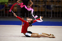 Marina Shpekt of Russia trains with ribbon before 2006 Deriugina Cup Grand Prix at Kiev, Ukraine on March 16, 2006. (Photo by Tom Theobald)