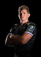Stuart Hooper poses for a portrait in the 2015/16 European kit during a Bath Rugby photocall on September 8, 2015 at Farleigh House in Bath, England. Photo by: Patrick Khachfe / Onside Images