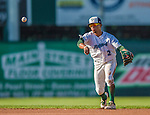 1 September 2013: Vermont Lake Monsters infielder Melvin Mercedes in action against the Connecticut Tigers at Centennial Field in Burlington, Vermont. The Lake Monsters fell to the Tigers 6-4 in 10 innings of NY Penn League action. Mandatory Credit: Ed Wolfstein Photo *** RAW Image File Available ****