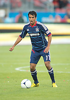12 September 2012: Chicago Fire midfielder Pavel Pardo #17 in action during an MLS game between the Chicago Fire and Toronto FC at BMO Field in Toronto, Ontario..The Chicago Fire won 2-1..
