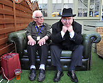 "Barry Cryer with Mark Brailsford in costume as Tony Hancock after a performance of ""The Lad Himself"" . The Loft Bar Gilded Balloon Edinburgh"