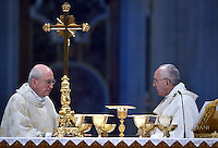 Pope Francis,Cardinal Agostino Vallini,ordained new priests ceremony  in St.Peter Basilica at the Vatican. April 17, 2016.