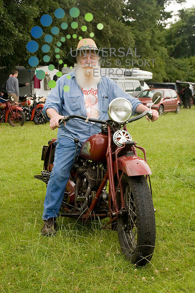 Old Indians Never Die Motorcycle Rally, Traquair House, Innerleithen, Scotland..Danny Doody from Vancouver, Canada shows off a 1933 Indian Standard Scout..Picture by Jim Carroll, taken 24/07/09