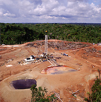 Oil exploration drilling site in tropical forest.  Ecuador.