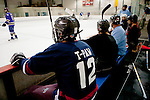 Republican presidential hopeful Tim Pawlenty plays in a scrimmage hockey game during a campaign stop on Friday, July 22, 2011 in Urbandale, IA.
