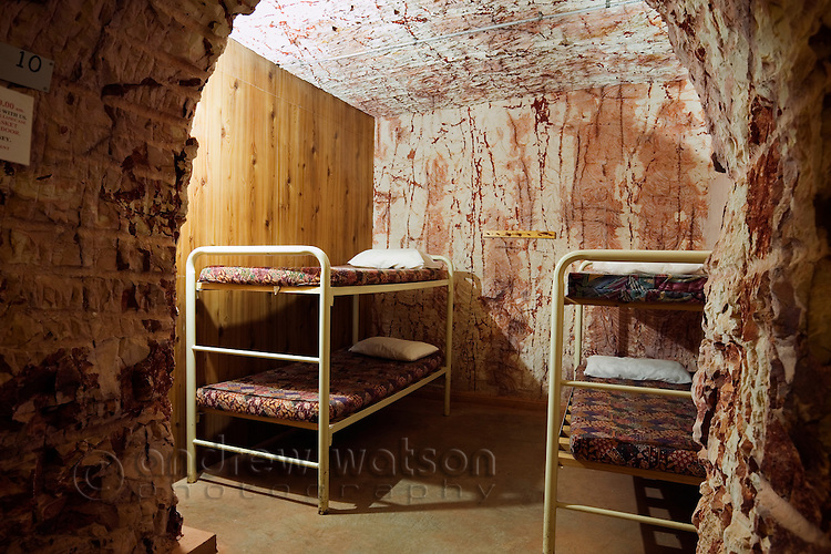 Underground dormitory accommodation at Radeka's Downunder Dugout Motel and Backpackers.  Coober Pedy, South Australia, AUSTRALIA.