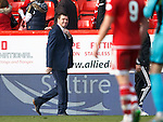 Aberdeen v St Johnstone...03.10.15   SPFL   Pittodrie, Aberdeen<br /> All smiles for Tommy Wright at full time<br /> Picture by Graeme Hart.<br /> Copyright Perthshire Picture Agency<br /> Tel: 01738 623350  Mobile: 07990 594431