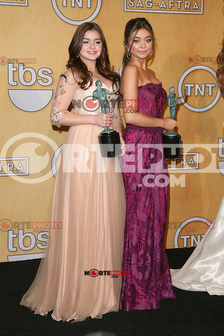 LOS ANGELES, CA - JANUARY 27: Aerial Winter and Sarah Hyland in the press room at The 19th Annual Screen Actors Guild Awards at the Los Angeles Shrine Exposition Center in Los Angeles, California. January 27, 2013. Credit: mpi27/MediaPunch Inc. /NortePhoto /NortePhoto