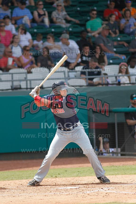 Salem Red Sox third baseman Jordan Betts (25) at bat during a game against the Down East Wood Ducks  at Grainger Stadium on April 16, 2017 in Kinston, North Carolina. Salem defeated Down East 9-2. (Robert Gurganus/Four Seam Images)