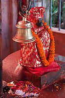 Kathmandu, Nepal.  Hindu God Hanuman, the Monkey God, in a Neighborhood Temple.
