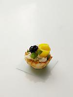"""Chicken Salad """"Flower"""" Tarts with mango"""