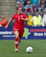Canadian defender  Rhian Wilkinson (7) brings the ball forward. In an international friendly, Canada defeated Brasil, 2-1, at Gillette Stadium on March 24, 2012.