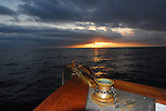 Sunrise on bow of the Searcher