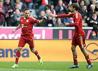 FUSSBALL   1. BUNDESLIGA  SAISON 2011/2012   11. Spieltag FC Bayern Muenchen - FC Nuernberg        29.10.2011 Jubel nach dem Tor zum 3:0,  Franck Ribery , Thomas Mueller (v. li., FC Bayern Muenchen)