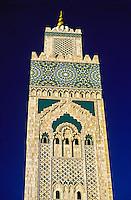 The 200 meter high minaret of the Grande Mosquee d'Hassan II, Casablanca, Morocco