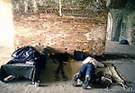 Confederate defenders sleep after  attacking Union forces during the Battle of Fort Morgan, Mobile, Al in 2001.  Ft. Morgan, a critical fortification during the Civil War, was the next-to last fortress to fall as the Civil War ended. Jim Bryant Photo. @2001. All Rights Reserved.