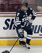 Cody Learned (Yale - 12) - The Boston College Eagles tied the visiting Yale University Bulldogs 3-3 on Friday, January 4, 2013, at Kelley Rink in Conte Forum in Chestnut Hill, Massachusetts.