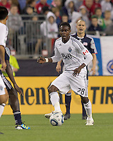 Vancouver Whitecaps FC midfielder Gershon Koffie (28) at midfield. In a Major League Soccer (MLS) match, the New England Revolution defeated the Vancouver Whitecaps FC, 1-0, at Gillette Stadium on May14, 2011.