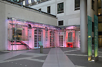 Glass portico over the remains of the breakfast room of Grand Hotel Esplanade in Potsdamerplatz, Berlin, Germany. The Grand Hotel Esplanade was opened in 1908 and then bombed during the Second World War. Picture by Manuel Cohen