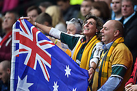 Australia supporters in the crowd sing their national anthem. Rugby World Cup Quarter Final between Australia and Scotland on October 18, 2015 at Twickenham Stadium in London, England. Photo by: Patrick Khachfe / Onside Images