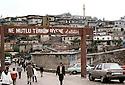 """Turkey 1987.In Sirnak, propaganda in the main street:""""He is proud the one who knows he is Turkish """".Turquie 1987."""" Il est fier celui qui se sait Turc"""" slogan affiché dans le centre ville de Sirnak, région ou la guerilla kurde est trés active."""