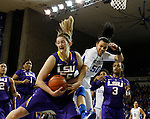 UK guard Azie Bishop gets the ball stolen by LSU foward Theresa Plaisance during the second half of the women's basketball game vs. LSU Memorial Coliseum , in Lexington, Ky., on Sunday, January 27, 2013. Photo by Genevieve Adams  | Staff.