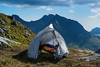 Tent camping in mountain landscape, Moskenesøy, Lofoten Islands, Norway