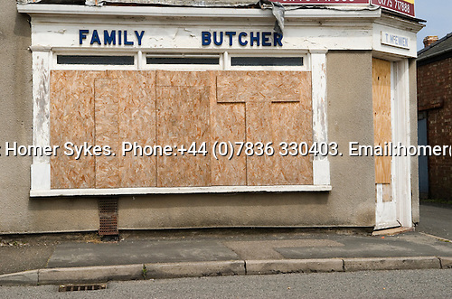 Family Butchers corner shop boareded up closed down Sutton Bridge