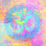 Om sign illustrated with higher chakra colors.