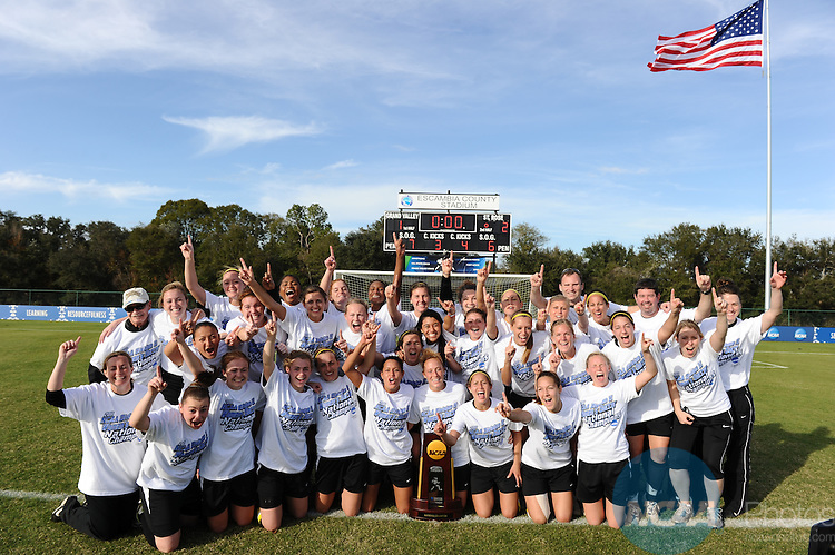 03 DEC 2011: The College of Saint Rose team celebrates their victory during the Division II Women's Soccer Championship held at the Ashton Brosnaham Soccer Complex in Pensacola, FL.  Saint Rose defeated Grand Valley State University 2-1 to win the national title.  Stephen Nowland/NCAA Photos