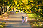 Mennonite girls walking path in Harrison, Arkansas