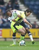 Preston North End's Daniel Johnson battles with  Reading's Yann Kermorgant<br /> <br /> Photographer Mick Walker/CameraSport<br /> <br /> The EFL Sky Bet Championship - Preston North End v Reading - Saturday 11th March 2017 - Deepdale - Preston<br /> <br /> World Copyright &copy; 2017 CameraSport. All rights reserved. 43 Linden Ave. Countesthorpe. Leicester. England. LE8 5PG - Tel: +44 (0) 116 277 4147 - admin@camerasport.com - www.camerasport.com