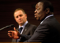 The Prime Minister of Zimbabwe Dr the Rt Hon Morgan Tavangirai speaks to the media with the Prime Minister of New Zealand John Key during a joint press conference at the Beehive, Wellington, New Zealand, Wednesday, July 25, 2012. Credit:SNPA / Marty Melville