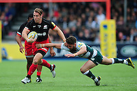 Chris Wyles of Saracens looks to fend Owen Williams of Leicester Tigers. Aviva Premiership semi final, between Saracens and Leicester Tigers on May 21, 2016 at Allianz Park in London, England. Photo by: Patrick Khachfe / JMP