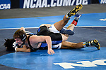 BIRMINGHAM, AL - MARCH 11:  Keith Surber of the University of Nebraska-Kearney takes on Juwan Edmond of Notre Dame College in the 149 lb weight class during the Division II Men's Wrestling Championship held at the Birmingham CrossPlex on March 11, 2017 in Birmingham, Alabama. (Photo by Jamie Schwaberow/NCAA Photos via Getty Images)