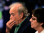 Bob Shindler (L) along with wife Mary (R) hold his face while answering a question during a television interview about their brain damaged daughter Terri Schiavo outside the Woodside Hospice on March 23, 2005 in Pinellas Park, Florida. REUTERS/Scott Audette