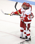 Sahir Gill (BU - 28), Wade Megan (BU - 18) - The Boston University Terriers defeated the visiting Northeastern University Huskies 5-0 on senior night Saturday, March 9, 2013, at Agganis Arena in Boston, Massachusetts.