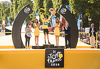 Picture by Alex Broadway/ASO/SWpix.com - 24/07/16 - Cycling - Tour de France 2016 - Stage Twenty-One - Chantilly to Paris Champs-&Eacute;lys&eacute;es - Chris Froome of Great Britain and Team Sky celebrates on the podium after winning the 2016 Tour de France.<br /> NOTE : FOR EDITORIAL USE ONLY. COMMERCIAL ENQUIRIES IN THE FIRST INSTANCE TO simon@swpix.com THIS IS A COPYRIGHT PICTURE OF ASO. A MANDATORY CREDIT IS REQUIRED WHEN USED WITH NO EXCEPTIONS to ASO/ALEX BROADWAY