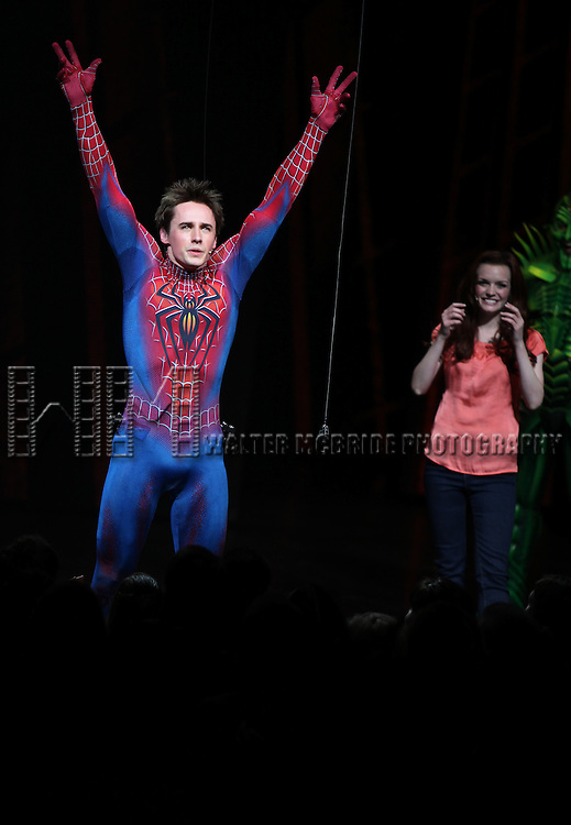 Reeve Carney & Jennifer Damiano.during the ''Spider-Man Turn off the Dark'' Opening Night Curtain Call in New York City.
