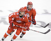 Sergio Somma (Ohio State - 44), John Albert (Ohio State - 15) - The Boston University Terriers defeated the Ohio State University Buckeyes 8-3 in the 2009 Northeast Regional Semifinal on Saturday, March 28, 2009, at the Verizon Wireless Center in Manchester, New Hampshire.