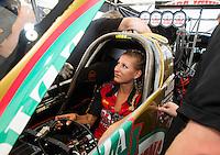 Oct 15, 2016; Ennis, TX, USA; NHRA top fuel driver Leah Pritchett during qualifying for the Fall Nationals at Texas Motorplex. Mandatory Credit: Mark J. Rebilas-USA TODAY Sports