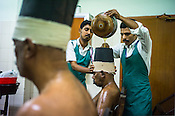 Resident patients get the Siro Vasti (ayurvedic oil on the head treatment) at the National Research Institute of Panchakarma in Cheruthuruthy in Thissur district of Kerala, India.