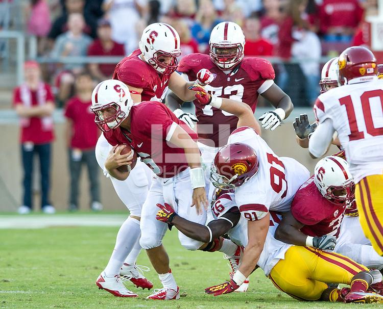 STANFORD, CA - September 15, 2012: Stanford Cardinal vs the USC Trojans at Stanford Stadium in Sanford, CA. Final score Stanford 21, USC 14.