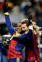 SEATTLE, WA--Real Salt Lake forward Robbie Findley and captain Kyle Beckerman celebrate their win during the MLS Cup championships at Qwest field in Seattle. SUNDAY, NOVEMBER 22, 2009. PHOTO BY DON FERIA.