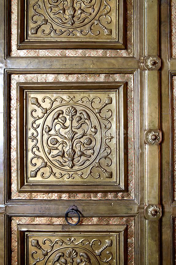 Carved brass door