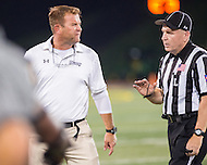Baltimore, MD - SEPT 10, 2016: Towson Tigers head coach Rob Ambrose is fired up when the officials add two seconds back onto the clock so St. Francis could run one more play with a chance to tie the game at Johnny Unitas Stadium in Baltimore, MD. The Tigers defeated St. Francis 35-28. (Photo by Phil Peters/Media Images International)