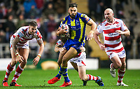 Picture by Alex Whitehead/SWpix.com - 16/03/2017 - Rugby League - Betfred Super League - Leigh Centurions v Warrington Wolves - Leigh Sports Village, Leigh, England - Warrington's Ryan Atkins escapes the tackle of Leigh's Ben Reynolds.